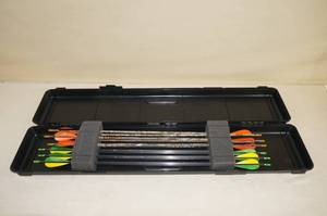 Case of Carbon Archery Arrows - Nocked, Fletched, Field Tips