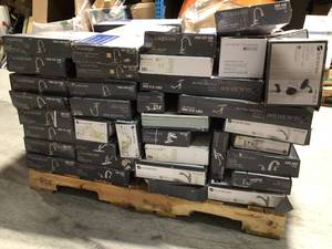 Pallet with assorted Glacier Bay Faucets open boxes and customer returns varopus conditions