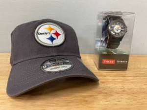 Lot of NFL Pittsburg Steelers Merchandise-Men's Baseball Hat and Timex Watch