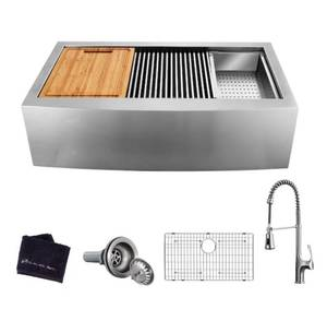 Glacier Bay All-in-One Apron-Front Farmhouse Stainless Steel 36 in. Single Bowl Workstation Sink with Faucet and Accessories.