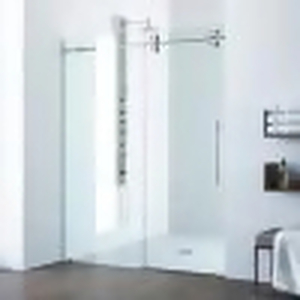 Elan 56 to 60 in. x 74 in. Frameless Sliding Shower Door in Stainless Steel with Clear Glass and Handle by VIGO