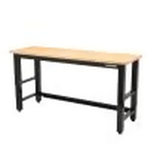 Ready-to-Assemble 6 ft. Adjustable Height Solid Wood Top Workbench in Black by Husky