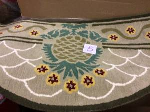 Hospitality Half Round Hearth Rug with Pineapple Design, 56 Inch Long, Beige Customer Returns See Pictures