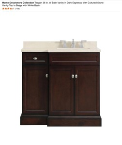 HOME DECORATORS COLLECTION TEAGEN 36 IN. W BATH VANITY IN DARK ESPRESSO WITH CULTURED STONE VANITY TOP IN BEIGE WITH WHITE BASIN. SEE PICTURES!!