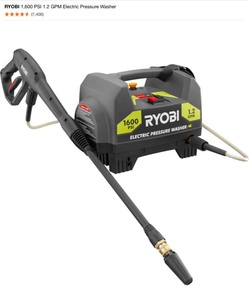 RYOBI 1,600 PSI 1.2 GPM ELECTRIC PRESSURE WASHER. SEE PICTURES!!