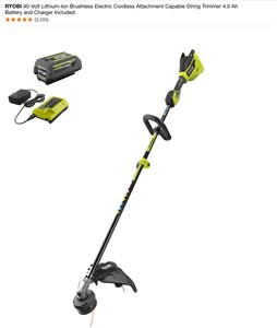 RYOBI 40-VOLT LITHIUM-ION BRUSHLESS ELECTRIC CORDLESS ATTACHMENT CAPABLE STRING TRIMMER 4.0 AH BATTERY AND CHARGER INCLUDED. SEE PICTURES!!