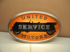 "Rare!!!!! - 1947 General Motors United Service Motors single-sided light-up garage sign - STANDING OR HANGING LIGHTED SIGN - ORIGINAL!!!!! - THIS PIECE IS AMAZING! - VERY RARE! - APPROX 26"" BY 16"" - SEE PICTURES!"