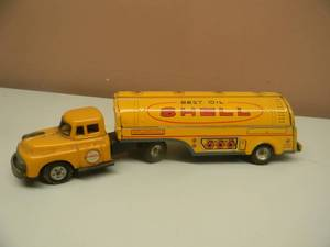 "RARE VINTAGE JAPAN FRICTION ""BEST OIL SHELL""  GAS ADVERTISING TIN LITHO TRAILER TRUCK - GREAT COLLECTIBLE! - SEE PICTURES!"