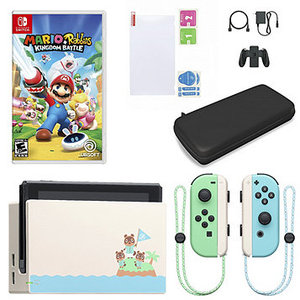 Nintendo Switch System Animal Crossing: New Horizons Edition Bundle with Mario + Rabbids Kingdom Battle, Carry Case and Screen Protector Kit