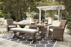 Signature Design by Ashley, Beachcroft Beige 6 Piece Outdoor Dining Set, APG-P791-6PC- BRAND NEW - NO RESERVE!