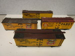 "VINTAGE ""O"" GAUGE BOXCARS, W/ MILLER HIGH-LIFE, PABST BEER ADVERTISEMENTS, SCRATCH-BUILT"