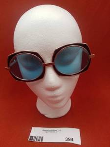 Iconic Vintage 1980s Renauld Rose Gold Oversized Sunglasses with Blue Lens 1980 (Valued@$450)