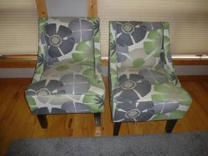 Set of Chairs Green & Charcoal Floral