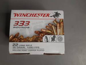 Winchester Ammunition 22 Long Rifle 36 grain 1280FPS Hollow Point Copper Plated 333 rounds
