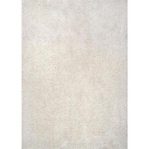 STYLEWELL Sunbrooke White 6 ft. x 9 ft. Solid Shag Area Rug