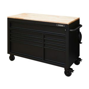 Heavy-Duty 52 in. W 9-Drawer, Deep Tool Chest Mobile Workbench in Matte Black with Adjustable-Height Hardwood Top