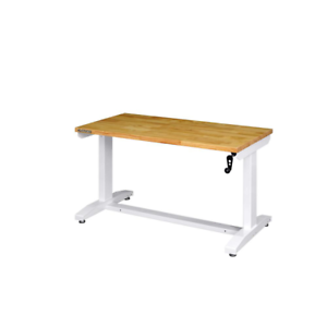HUSKY 52 in. Adjustable Height Work Table in White
