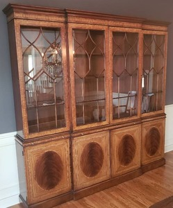 Magnificent EJ Victor Mahogany Georgian Style Breakfront Cabinet