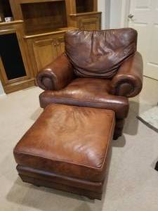 Ultra-Comfortable Leather Chair and Ottoman by Leather Creations