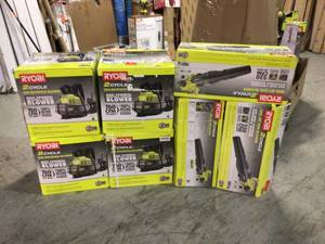 Lot of 7 Ryobi Blowers Not checked Various Conditions Customer Returns See Pictures