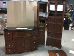 Lot of bathroom Vanity and 2 cabinets for bathroom Customer Returns See Pictures