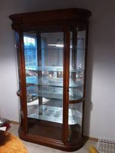 2-Door Lighted Curio Cabinet With Curved Glass & Adjustable Shelves 48x18x80 (Bring Help To Load)