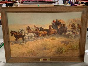 "Original 1952 Budweiser ""At Large On The Over Land Range"" Framed Picture (no shipping)"