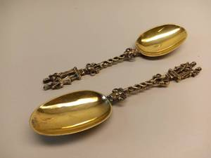 Antique Gold Plated Wedding Spoons