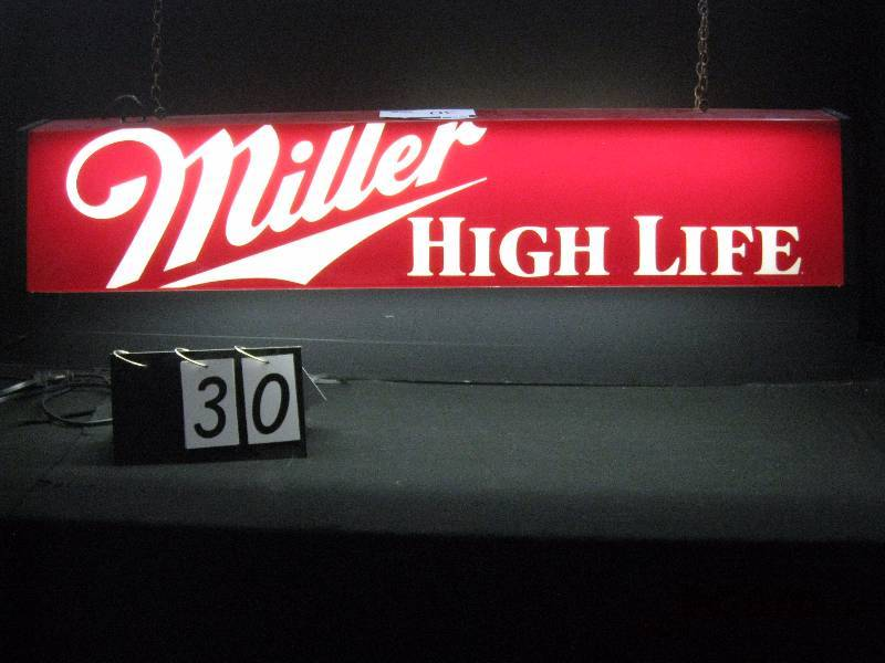 miller high life billiards pool table light 48 w x 9 h man cave neon blowout k bid. Black Bedroom Furniture Sets. Home Design Ideas