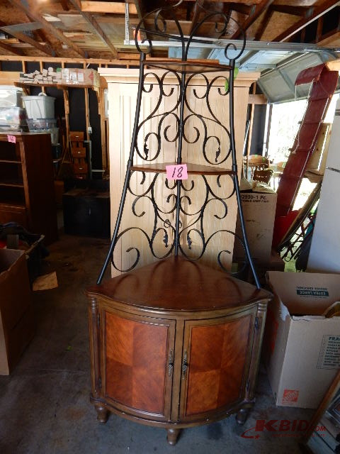 Genial Nice Walnut Veneer Wood Corner Unit With Wrought Iron Upper Frame. Nice  Shape. 33 1/2 In X 23 In From Corner To Front Edge, 84 In H .u0027