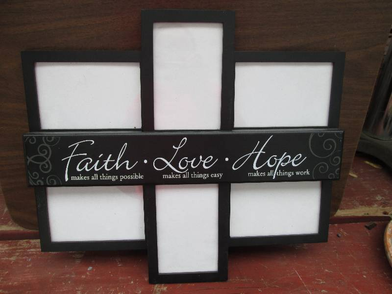 Faith Love Hope Picture Frame 18 I Outdoor Barnwood