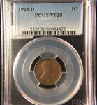 1924 D WHEAT CENT VF20 PCGS CERTIFIED