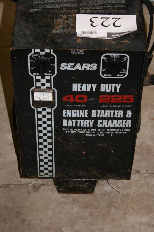 sears heavy duty battery charger engine starter 40 225 blaine