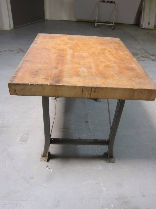 A Wood And Metal Butcher Block Table Measures 42 X 52 36 Tall In Nice Condition