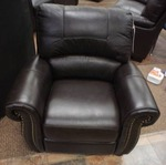 Elegant Top Grain Leather Chair - Dark Brown w/Beaded Accents