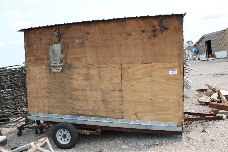 Homemade fish house trailer w ply wood enclosed storage for Fish house trailer