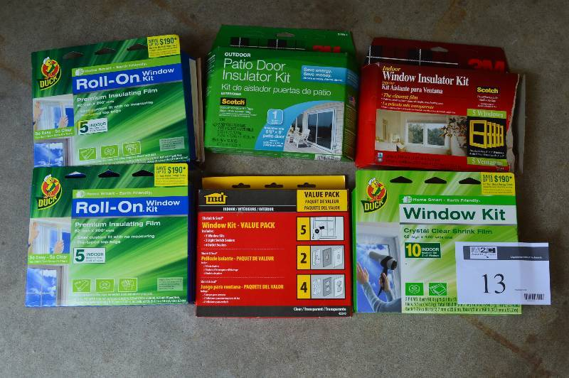 Lot Of Window Insulation Kits Including: Duck Roll ON Window Kits, 1 Box Is  Used (2); Duck Roll On Window Kit For 10 Indoor Windows; Outdoor Patio Door  ...