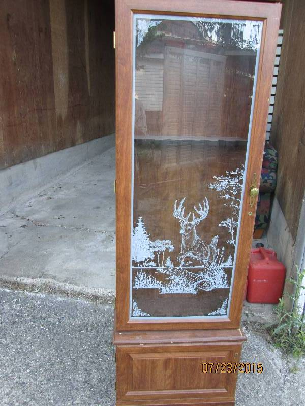 Glass Gun Cabinet With Etched Front Furniture Tool Box