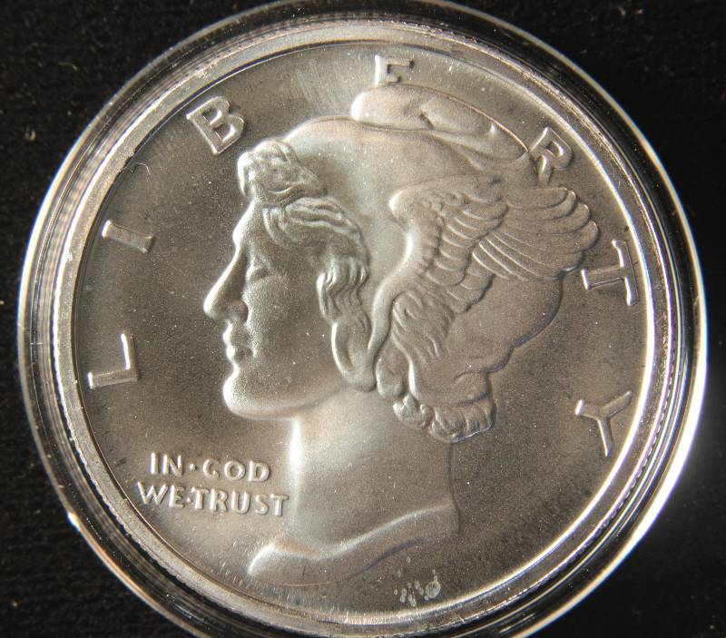 1 Troy Oz 999 Fine Silver Round Mercury Design In