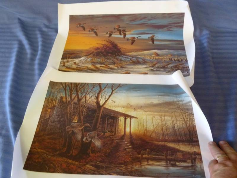 lot of two terry redlin prints on rolled material measures 13 x 19 ready to frame