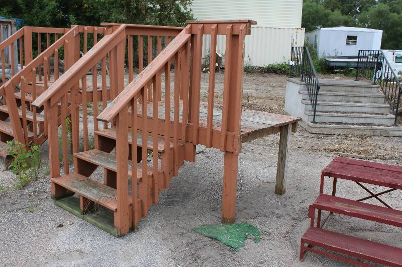 Wooden Deck Or Front Door Steps W Wooden Railing