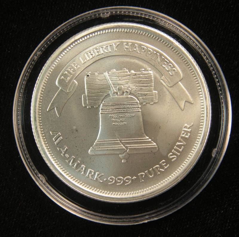 1 Troy Oz 999 Fine Silver Round A Mark Liberty In