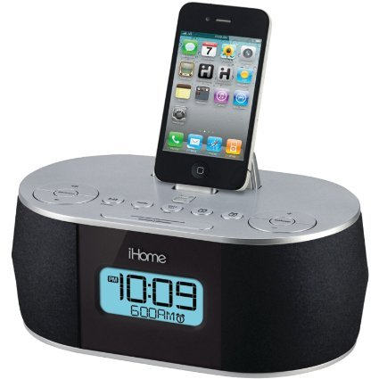 ihome stereo system with dual alarm fm clock radio for ipad iphone ipod laptops gaming. Black Bedroom Furniture Sets. Home Design Ideas