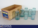 Lot of 7 Antique Blue Mason Jars in a Wood Box