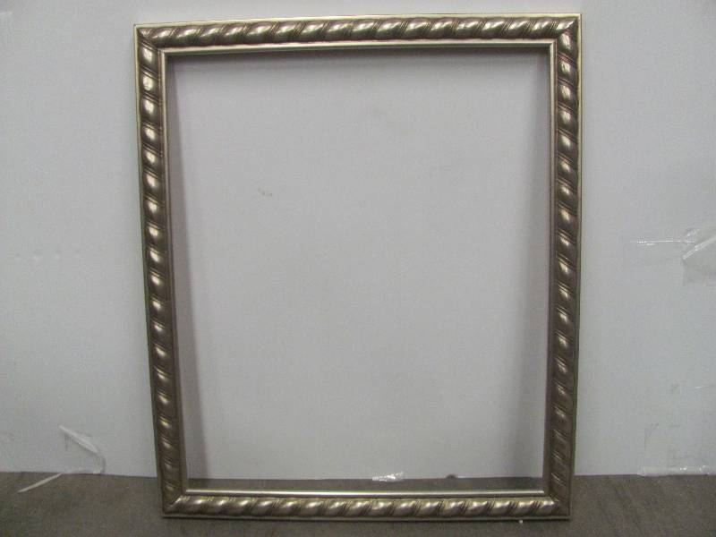 this new frame measures approx 23 x 27 inches outside dimensions and 20 x 24 inches rabbet dimensions another beautiful frame the features a silvery