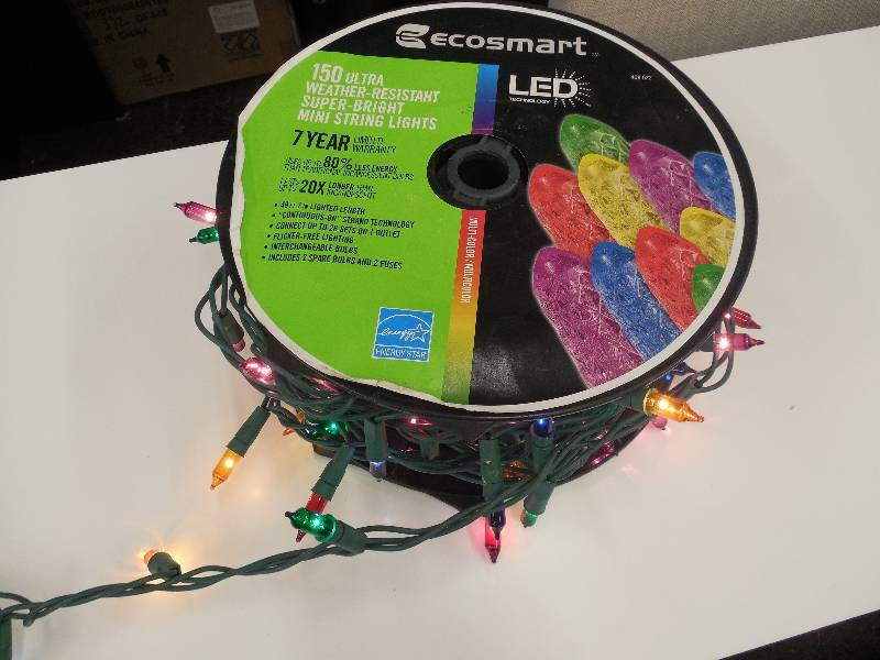 Ecosmart 150 Ultra Super Bright Mini String Lights Christmas Holiday Decorations & Lights ...