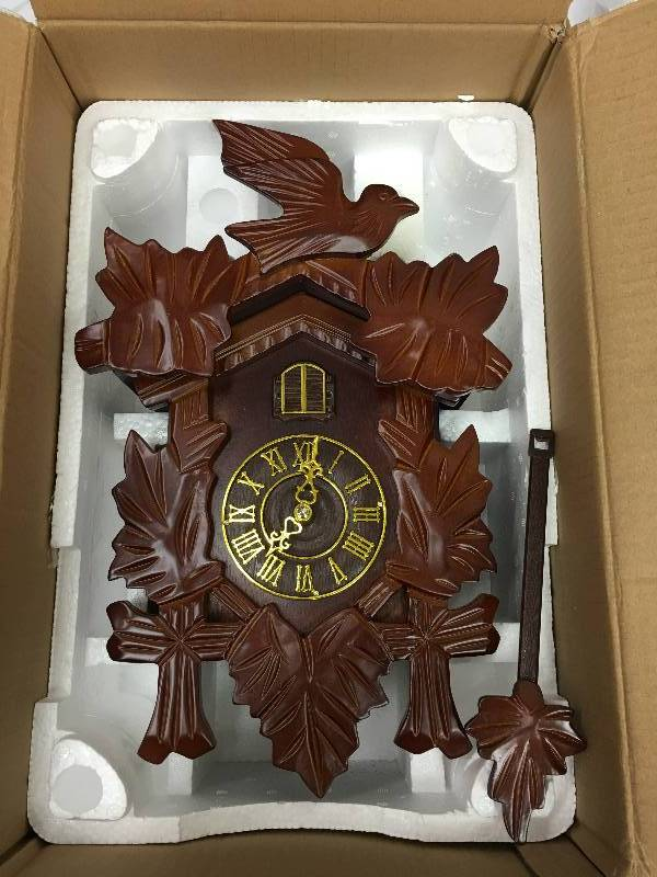 Pendulum cuckoo wall clock walnut retail 89 october merchandise liquidation k bid - Cuckoo pendulum wall clock ...