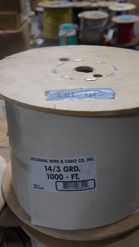 NEW Unopened 1000\' Spool of Colonial Wire & Cable Co. Inc. 14/3 GRD ...